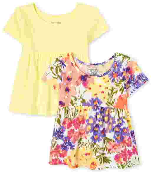 Paquete de 2 camisetas básicas de manga corta con estampado floral y sólido para niñas pequeñas