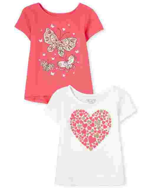 Paquete de 2 camisetas básicas de manga corta con estampado gráfico para niñas pequeñas