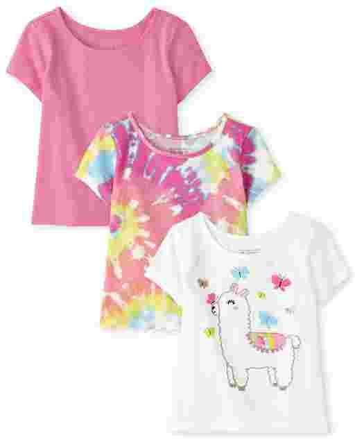 Toddler Girls Short Sleeve Basic Layering Tee 3-Pack