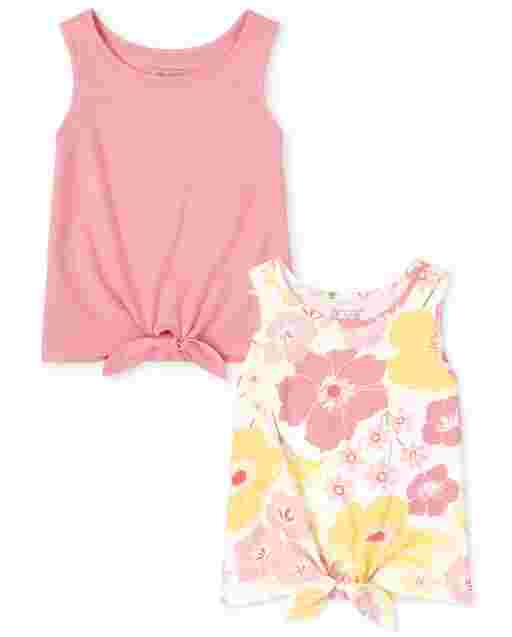 Toddler Girls Sleeveless Floral And Solid Tie Front Tank Top 2-Pack