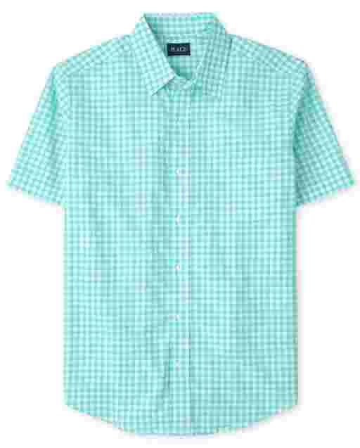 Mens Dad And Me Short Sleeve Plaid Gingham Matching Button Down Shirt