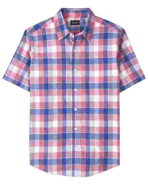 Mens Dad And Me Short Sleeve Plaid Poplin Matching Button Down Shirt