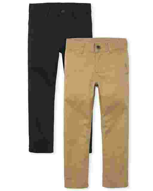 Boys Unifrom Woven Stretch Skinny Chino Pants 2-Pack