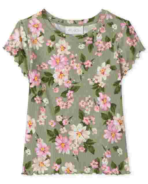 Girls Short Sleeve Floral Print Ribbed Top