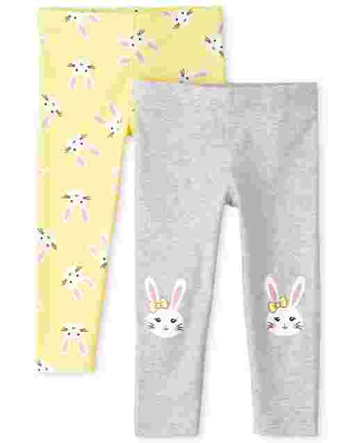 Pack de 2 leggings de punto con conejito para niñas pequeñas