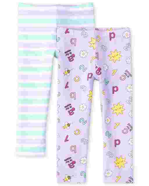 Toddler Girls Rainbow Knit Leggings 2-Pack