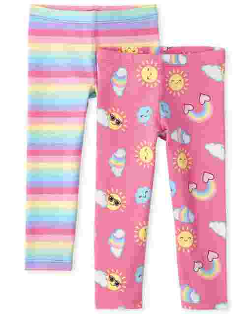 Toddler Girls Print Knit Leggings 2-Pack
