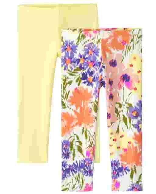 Paquete de 2 leggings florales de punto para niñas pequeñas