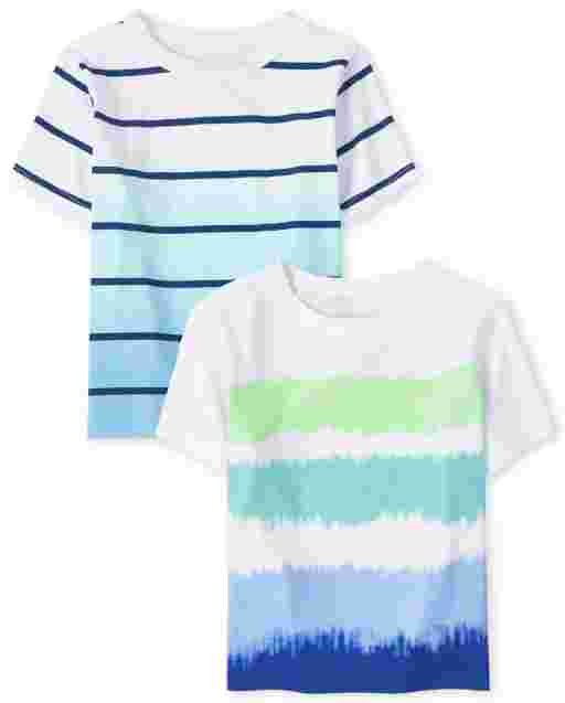 Baby And Toddler Boys Short Sleeve Striped Top 2-Pack