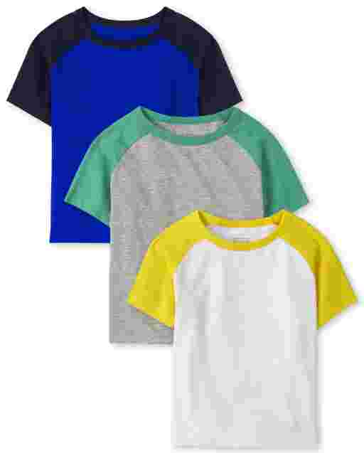Baby And Toddler Boys Short Sleeve Raglan Top 3-Pack