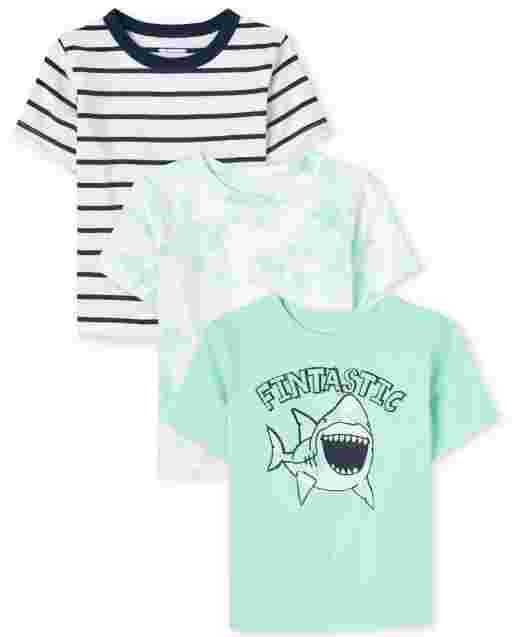 Baby And Toddler Boys Short Sleeve Tie Dye, Striped And Shark Top 3-Pack