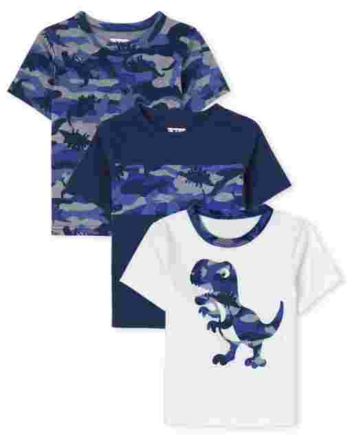 Baby And Toddler Boys Short Sleeve Dino Top 3-Pack