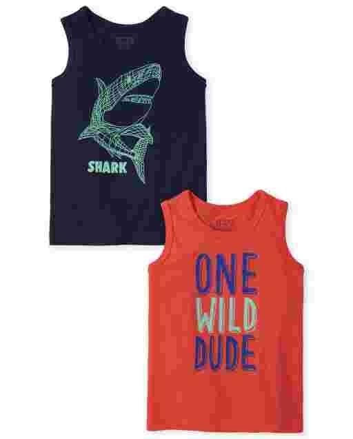 Pack de 2 camisetas sin mangas Wild Shark para bebés y niños pequeños