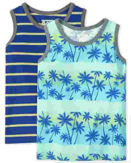 Baby And Toddler Boys Sleeveless Palm Tree And Striped Tank Top 2-Pack