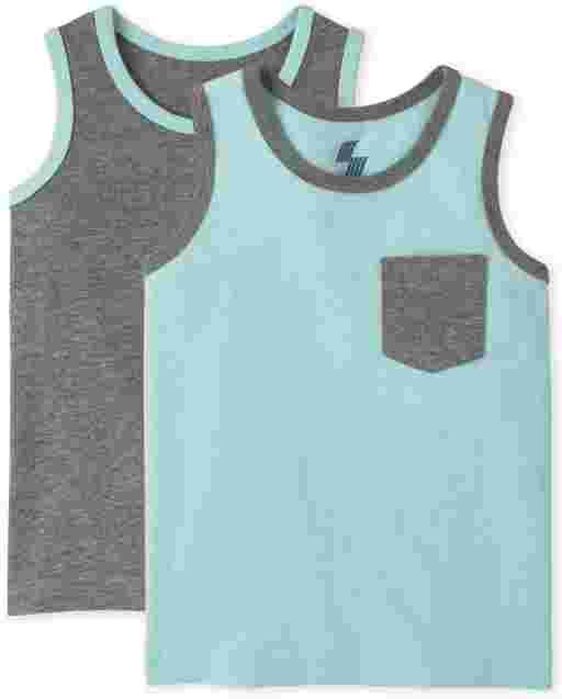 Pack de 2 camisetas sin mangas con bolsillo para bebés y niños pequeños