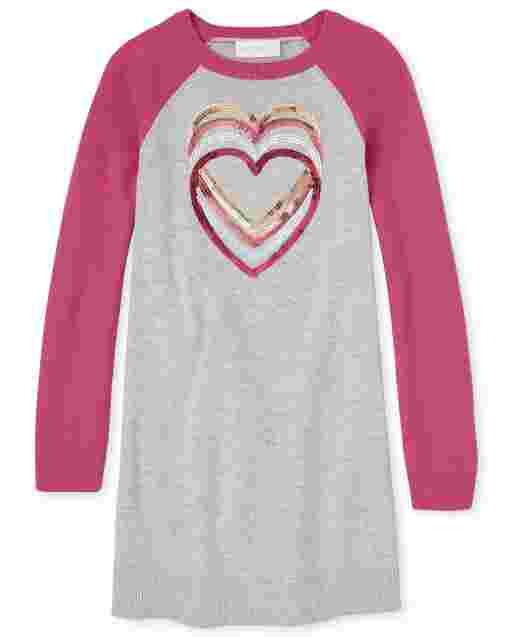 Girls Long Sleeve Heart Graphic Raglan Sweater Dress