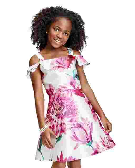 Girls Short Sleeve Floral Print Woven Off Shoulder Dress
