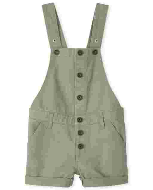 Girls Sleeveless Twill Button Front Shortalls