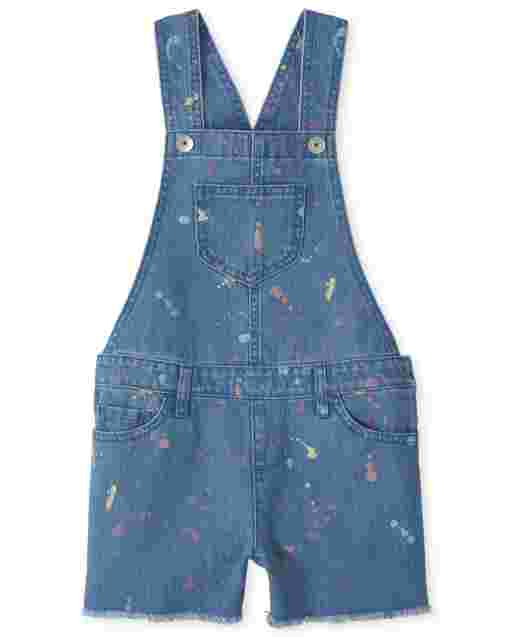 Girls Sleeveless Paint Splatter Denim Shortalls
