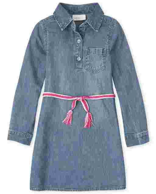 Girls Long Sleeve Belted Denim Shirt Dress
