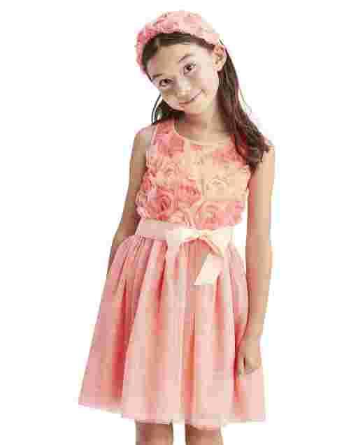 Girls Easter Sleeveless 3D Flower Knit To Woven Dress