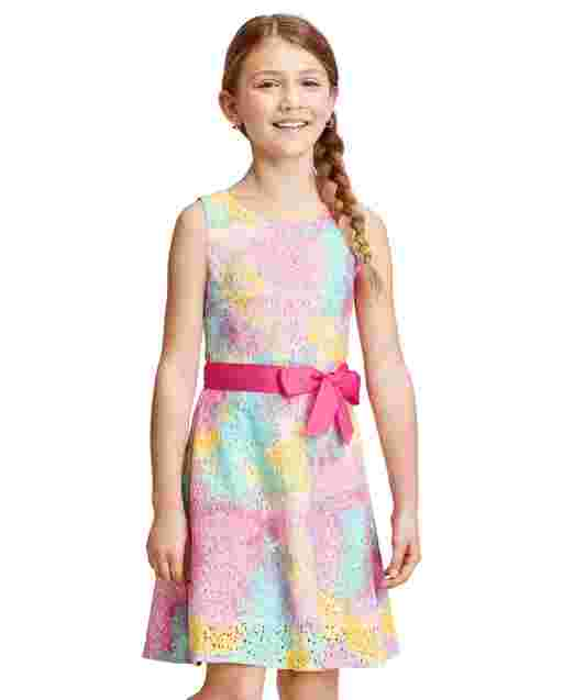 Girls Sleeveless Tie Dye Print Lace Cut Out Dress