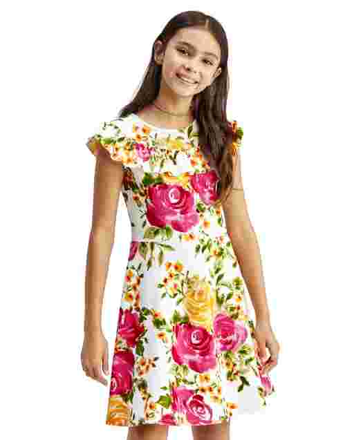 Girls Short Sleeve Textured Floral Print Ruffle Knit Stretch Jacquard Dress