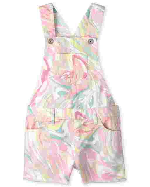 Girls Sleeveless Marble Print Twill Shortalls