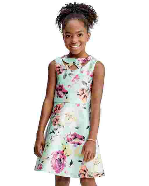 Girls Sleeveless Floral Print Woven Cut Out Dress