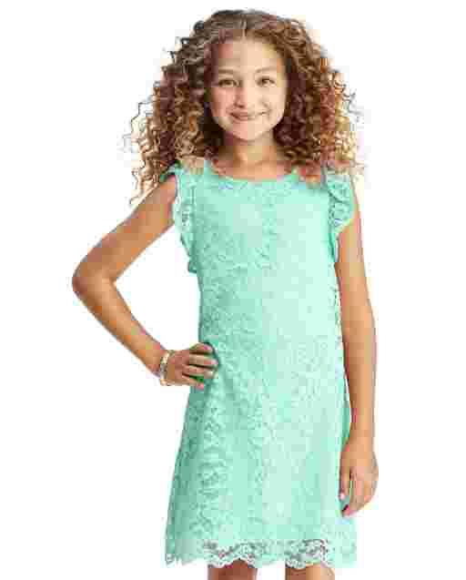 Girls Easter Short Flutter Sleeve Lace Shift Dress