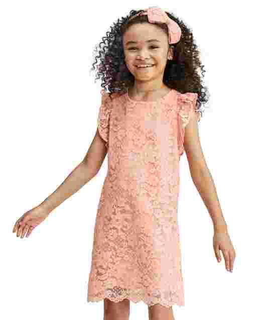 Vestido recto de encaje de manga corta con volantes de Pascua para niñas