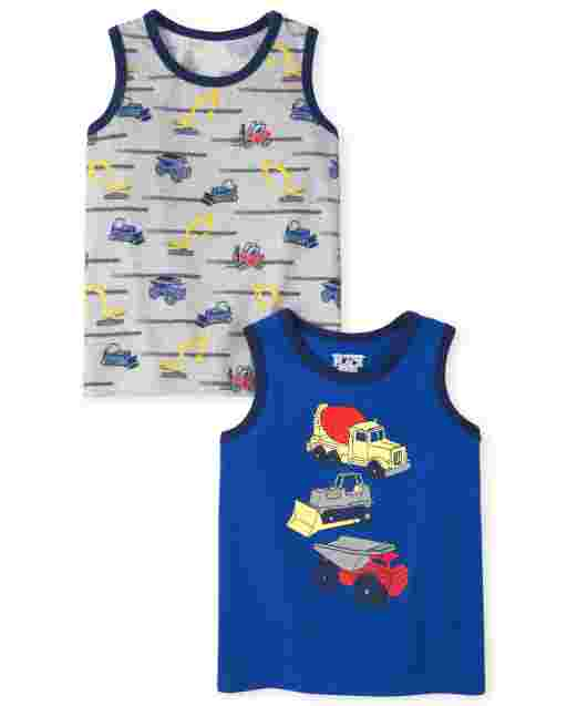 Baby And Toddler Boys Sleeveless Trucks Graphic Tank Top 2-Pack