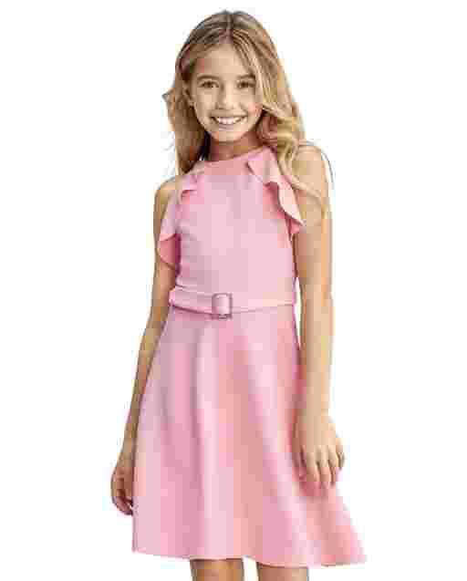 Vestido de niña con volantes de punto jacquard elástico sin mangas