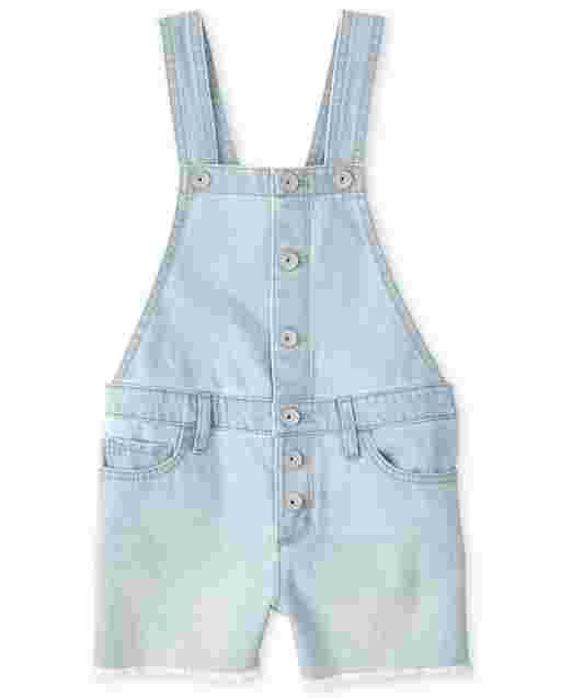 Girls Sleeveless Button Front Denim Shortalls