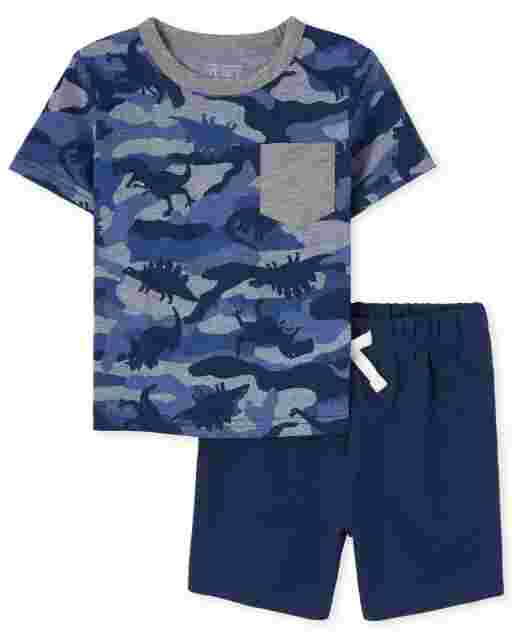 Baby And Toddler Boys Short Sleeve Dino Camo Pocket Top And French Terry Shorts Outfit Set