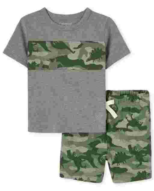 Baby And Toddler Boys Short Sleeve Dino Camo Striped Top And Print French Terry Shorts Outfit Set