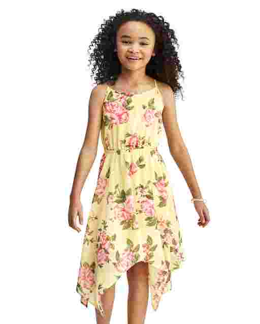 Girls Mommy And Me Sleeveless Floral Print Woven Sharkbite Hem Dress
