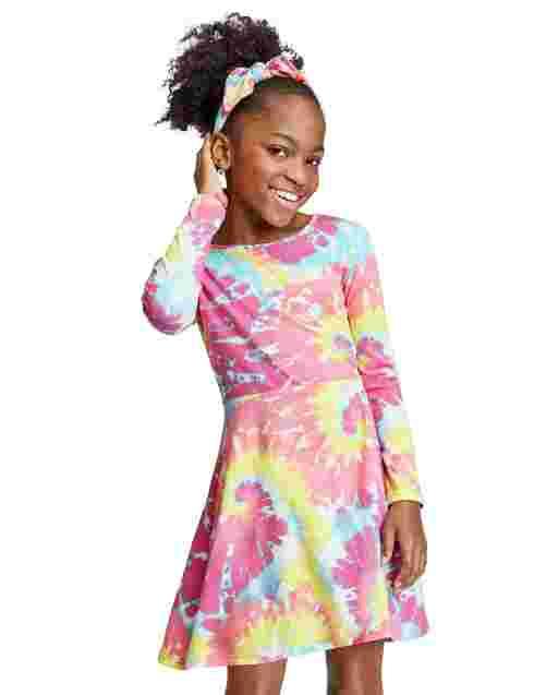 Vestido skater de manga larga con efecto tie dye para niñas