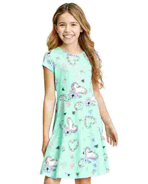 Girls Short Sleeve Print Knit Skater Dress