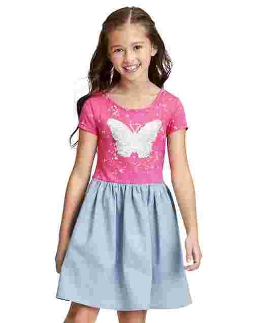 Girls Short Sleeve Flip Sequin Butterfly Splatter Paint Graphic Chambray Skirt Knit To Woven Dress
