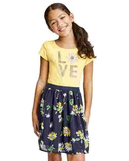 Vestido de niña de punto a tejido con estampado gráfico de margaritas estampado ' Love ' manga corta