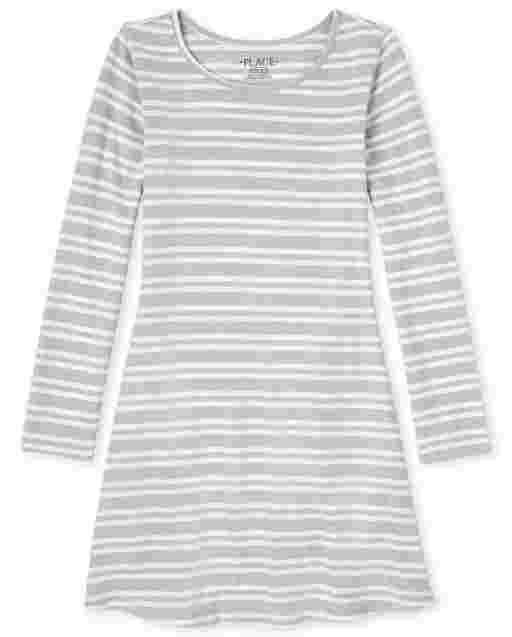 Vestido suéter ligero a rayas de manga larga para niñas
