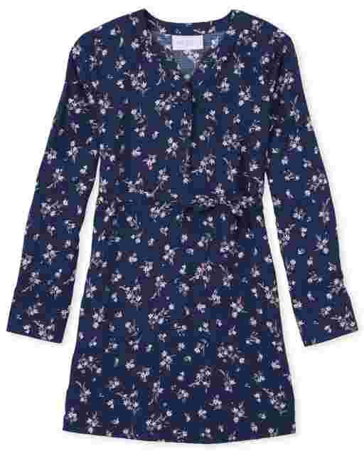 Vestido camisero tejido con cinturón y estampado floral de manga larga para niñas