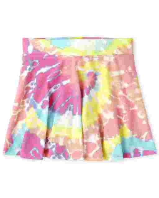 Girls Mix And Match Knit Tie Dye Skort