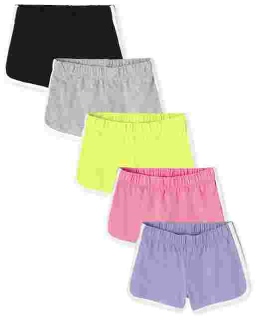 Girls Mix And Match Knit Dolphin Shorts 5-Pack