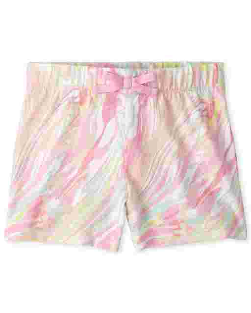 Girls Mix And Match Marble Print Shorts