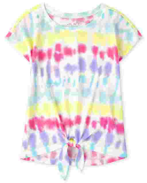 Girls Mix And Match Short Sleeve Print Tie Front Top