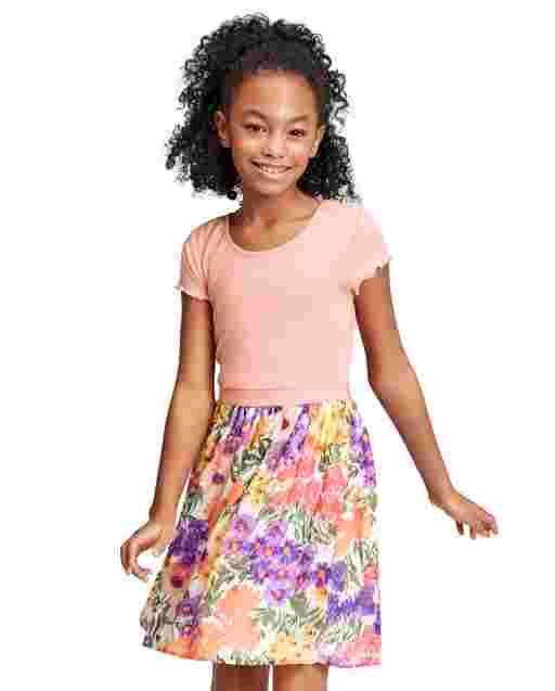 Vestido niña de punto a tejido floral
