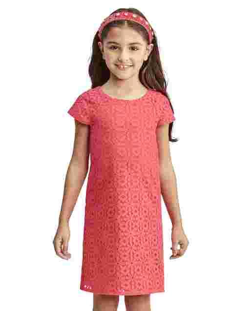 Vestido recto de encaje de margaritas de manga corta de Pascua para niñas