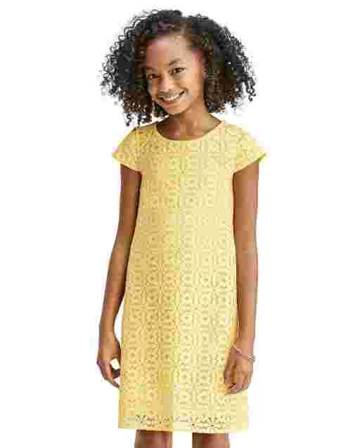 Vestido recto a juego de encaje de margaritas de manga corta de Pascua para niñas Mommy And Me